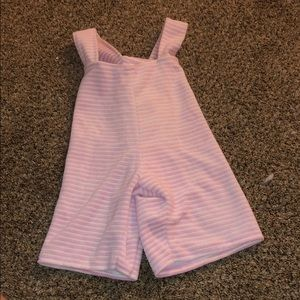 Pink and white striped romper